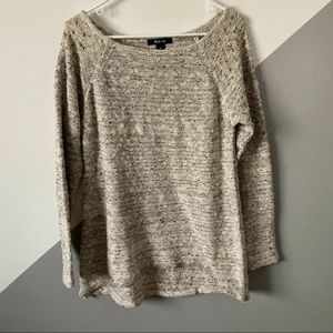 Style Co M Marled Knit Sweater Top Gold Studded